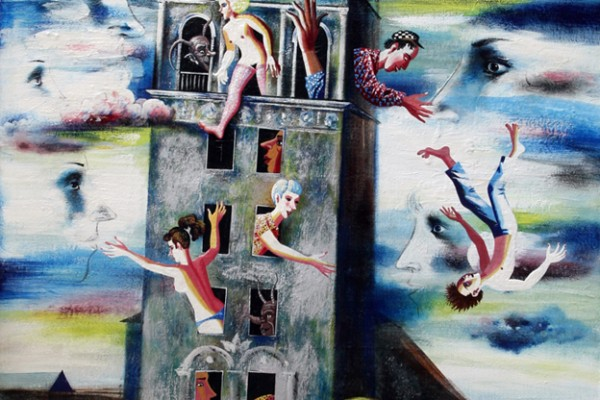 Городская башня.1998.Х.,смеш.техника.100х70.