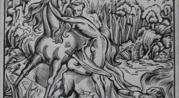 Девушка и Единорог. Линография. 29 х 22 см , 1979 г.