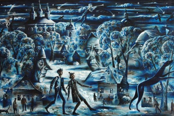 Зимняя прогулка. 2008. Х.,смеш. техника. 118х185.