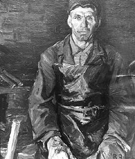 Колхозный кузнец Митрофаныч. 1972г., холст, масло