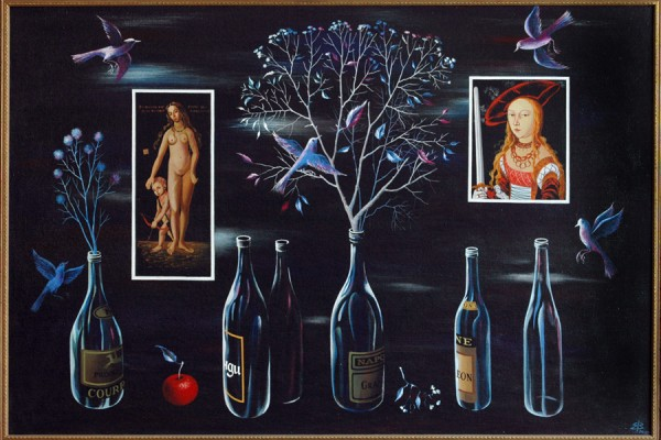 Натюрморт с бутылками.1994-2002.Х.,темпера.89х132.