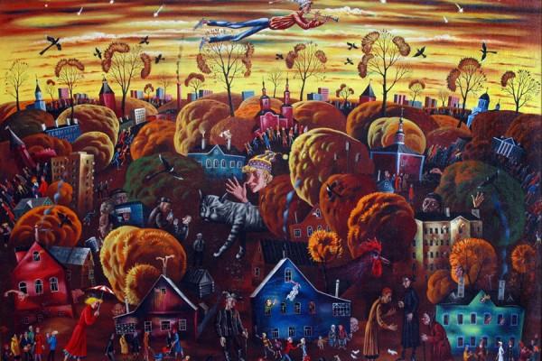 Осенняя мелодия. 1993-2003. Х.,темпера. 144х197.