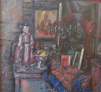Посвящение II, 1990г., 75х75, оргалит, масло