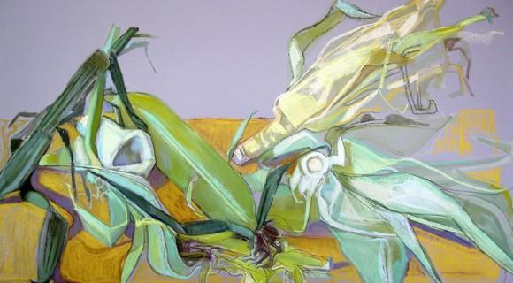 """Кукурузные шкурки"". Абр. бум., пастель, 46х62"