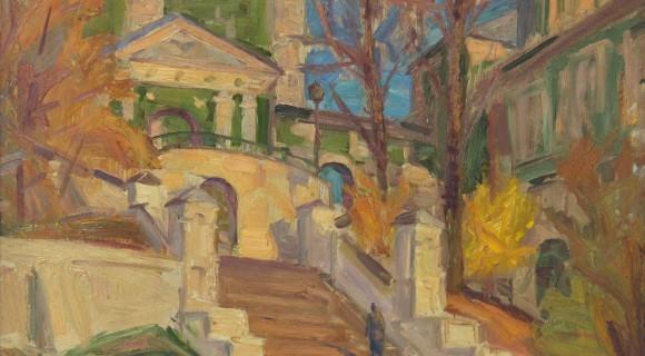 """""""Лестница к храму"""" Х.м., 2002г. 85Х98"""