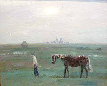 Напоить коня, 1997г., 73х89, холст, масло
